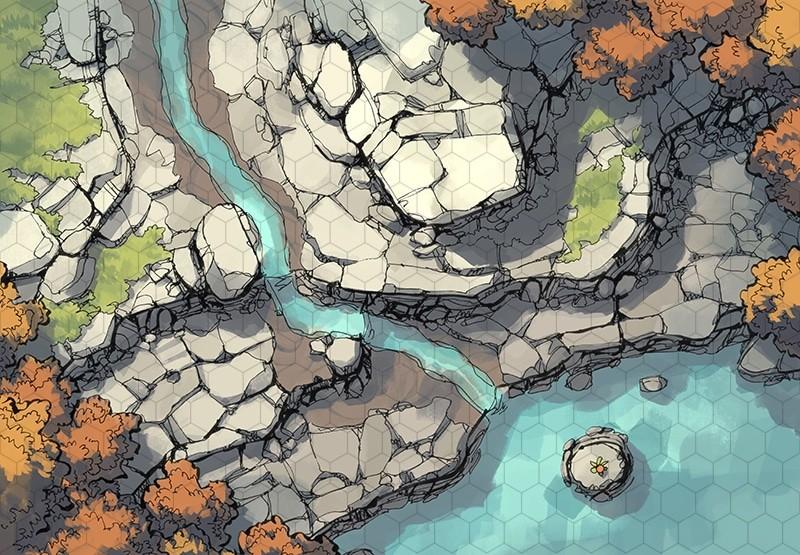 Rocky Descent battle map, hex grid