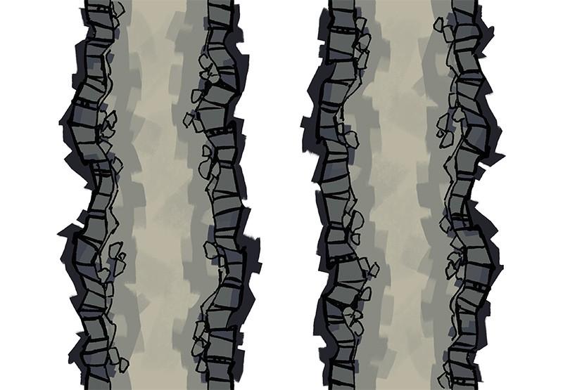 Cave Tunnels battle map tiles, color