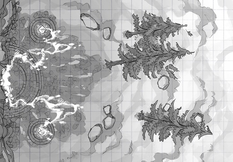Battle Map: Volatile Portal black & white square grid