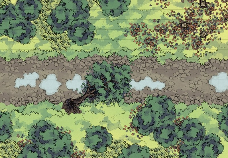 Cobblestone Highway battle map, forested square grid