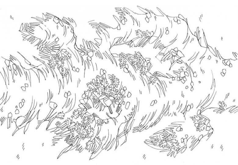 Luminescent Cave battle map, line art