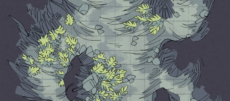 Luminescent Cave battle map, mundane banner