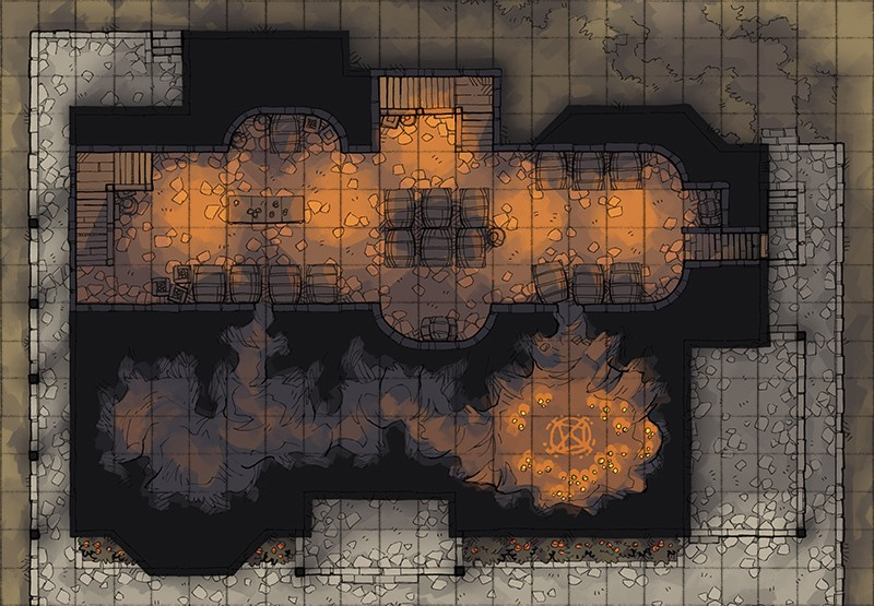 Haunted Cellar RPG battle map, square grid