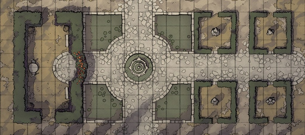 Haunted Garden RPG battle map, banner