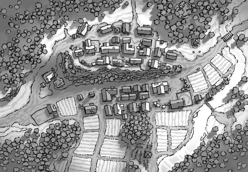 Poacher's Crest RPG Town Map, black & white greyscale
