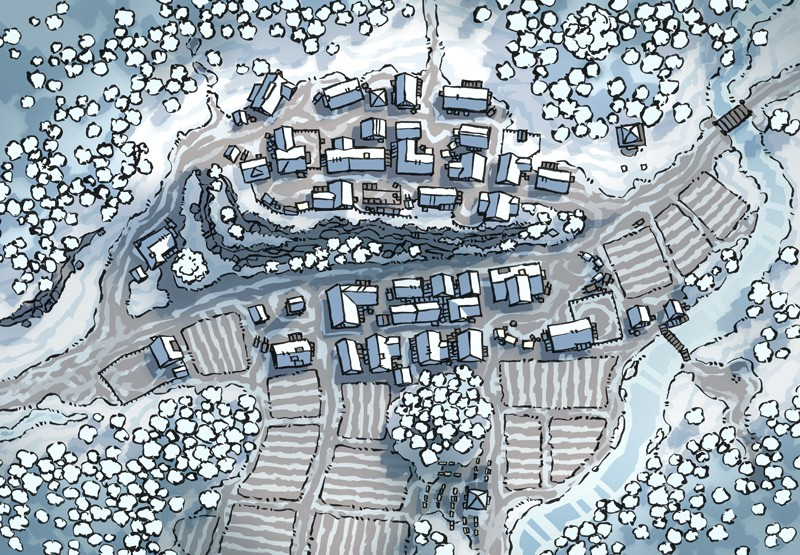 Poacher's Crest RPG Town Map, winter snow