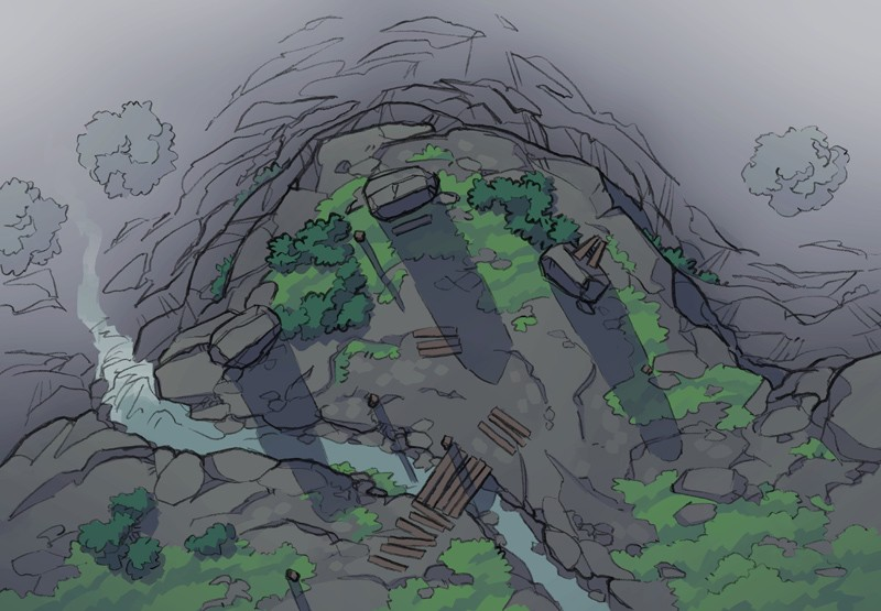 Buzzard Cliff RPG battle map, color