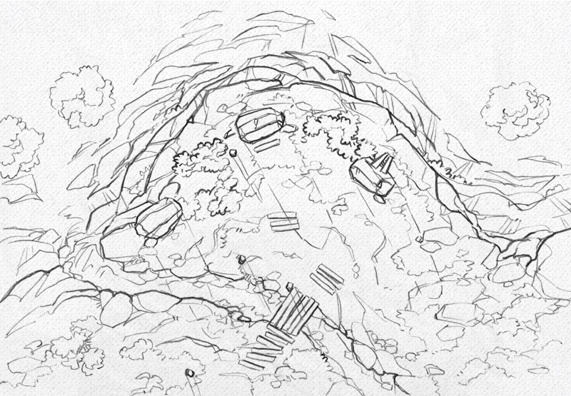 Buzzard Cliff RPG battle map, line art