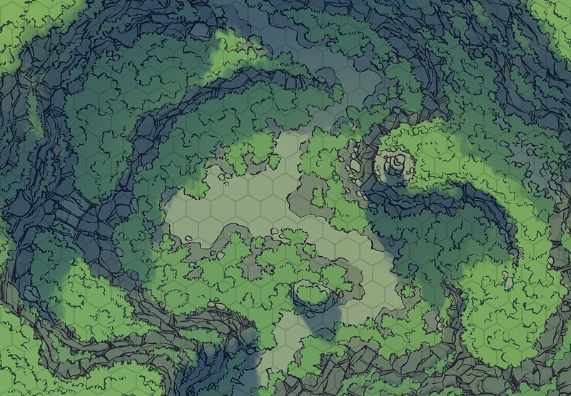 Highland Pass battle map, color, hex grid
