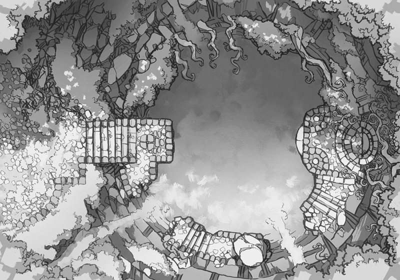 Jungle Temple RPG battle map, black & white