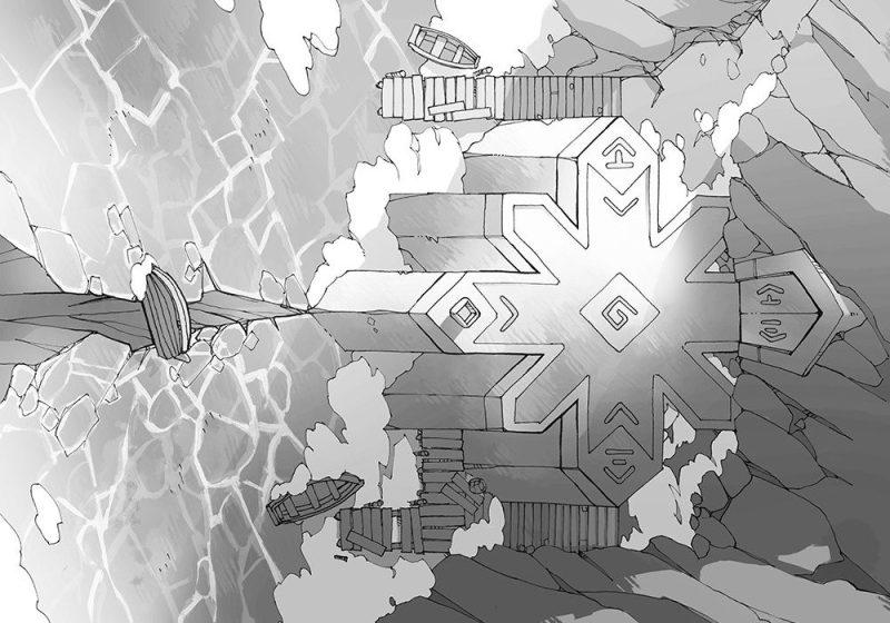 Ice Temple frozen lake RPG battle map, black & white greyscale