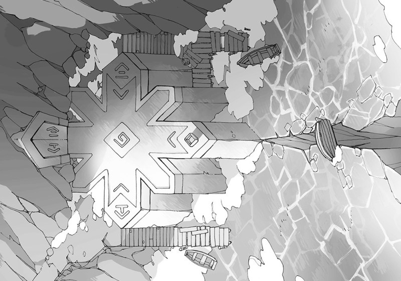 Ice Temple frozen lake RPG battle map, black & white greyscale