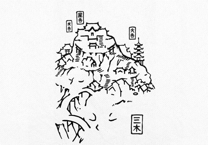 Mountain Monastery RPG Town Map, line art