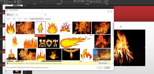 PowerPoint Image search for fire