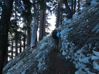 Steep climb and drop up to Monument Peak