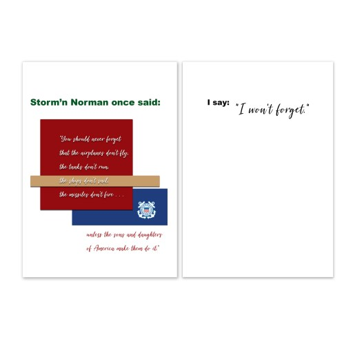 2MyHero military greeting card for USCG veterans with Storm'n Norman Quote