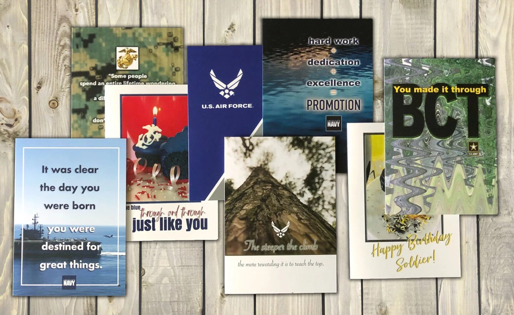 2MyHero military greeting cards for Airmen, Soldier, Marines, Sailors and Coasties.