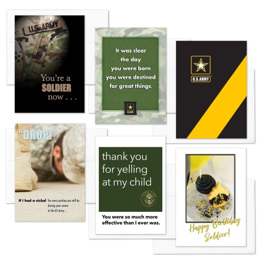 A Soldier Now - Mixed pack of 6 military appreciation boot camp graduation greeting cards - including envelopes - by 2MyHero