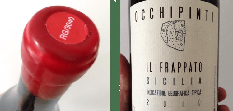 2010 Occhopinti Il Frappato: wax seal and label