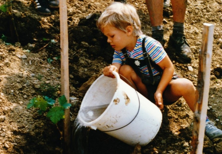 Little Micha watering a new vineyard