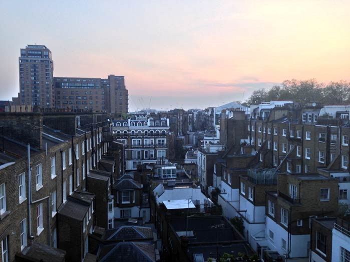 Backyard view: our flat in South Kensington