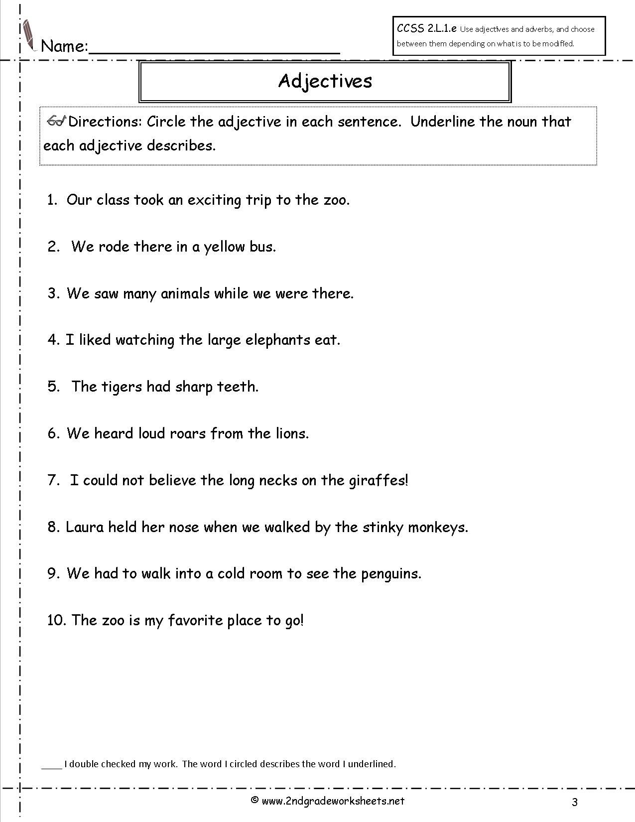 Adjective Worksheets For 2nd Grade