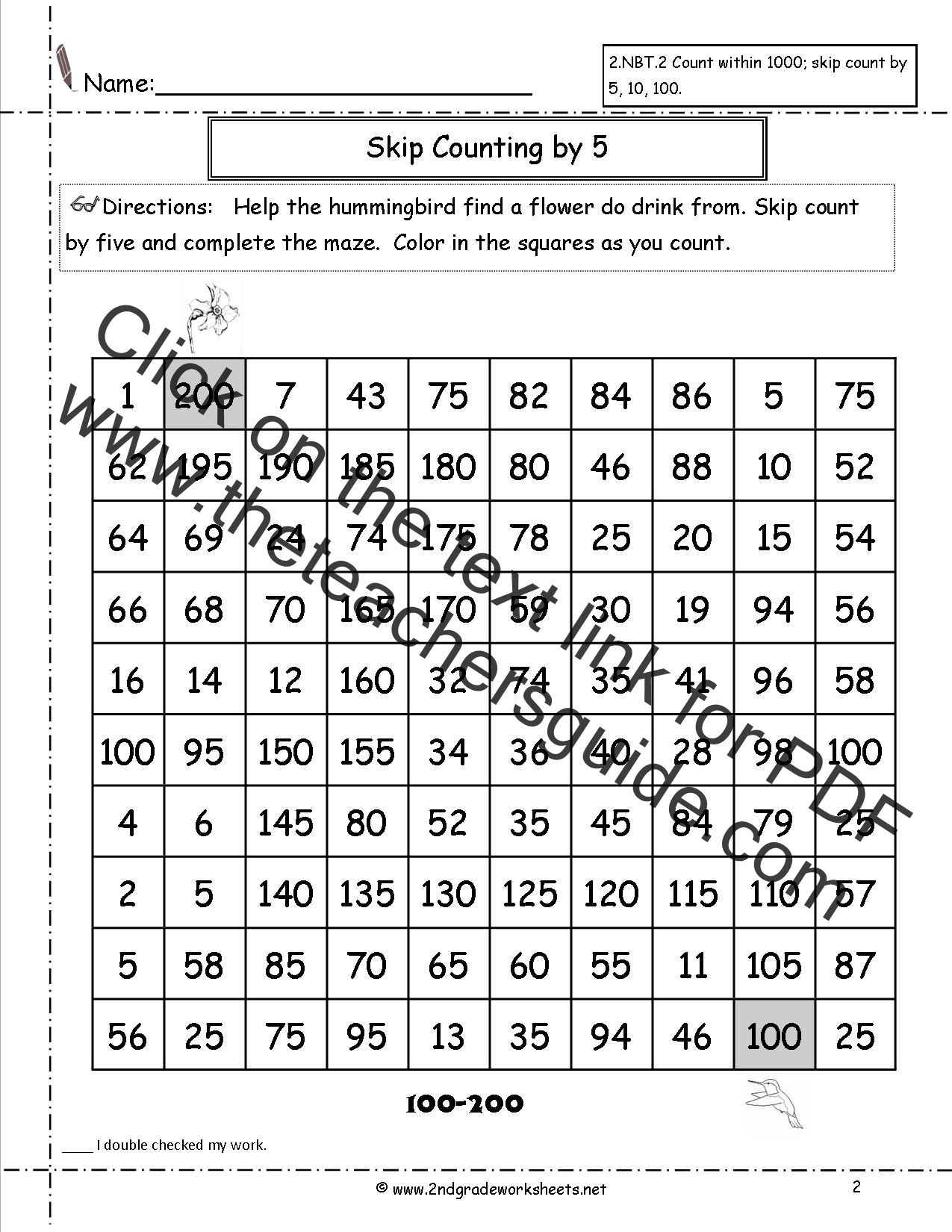 New 440 Counting Worksheets To 200