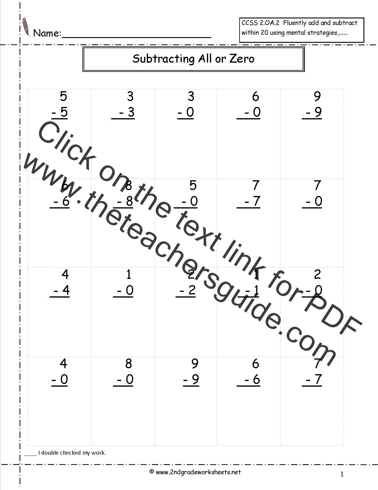 Single Digit Subtraction Fluency Worksheets