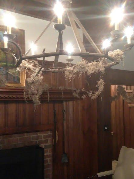 rustic chandalier draped in spanish moss