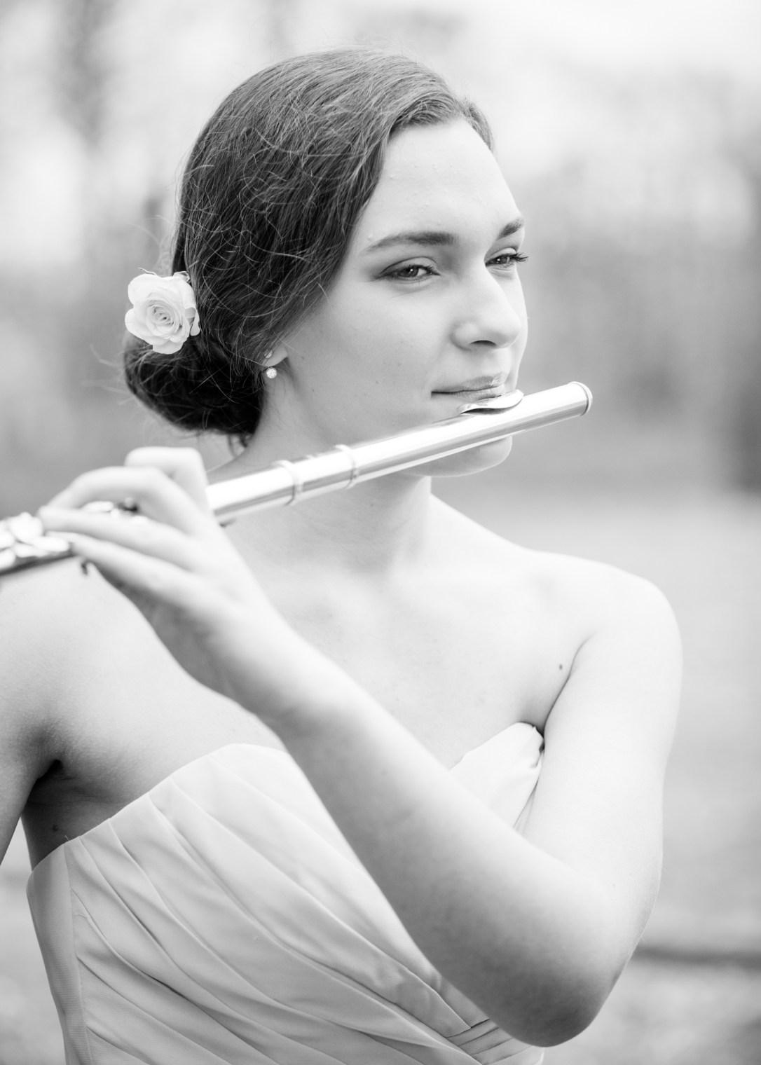 Karina wedding harpist playing the flute