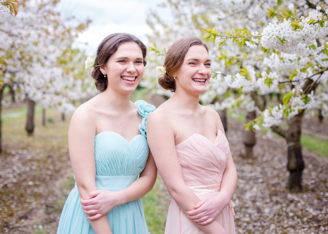 Adel and Karina, wedding harpists, sisters in orchard