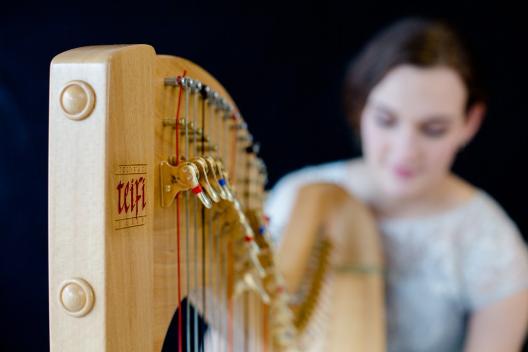Teifi eos harp played by Karina, wedding harpoist
