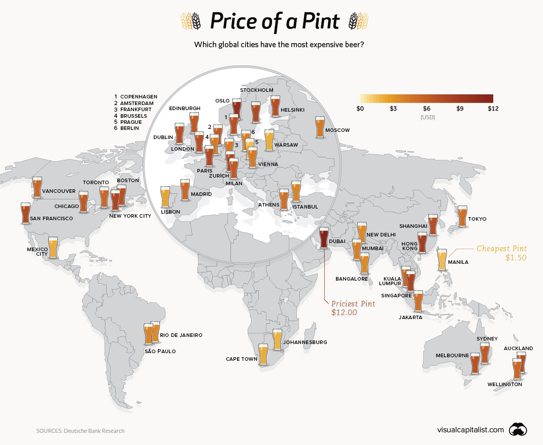 Mapping the Price of Beer Around the World