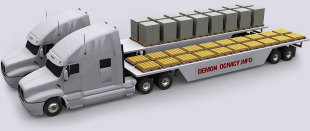 Semi-truck carrying the legal maximum weight in gold
