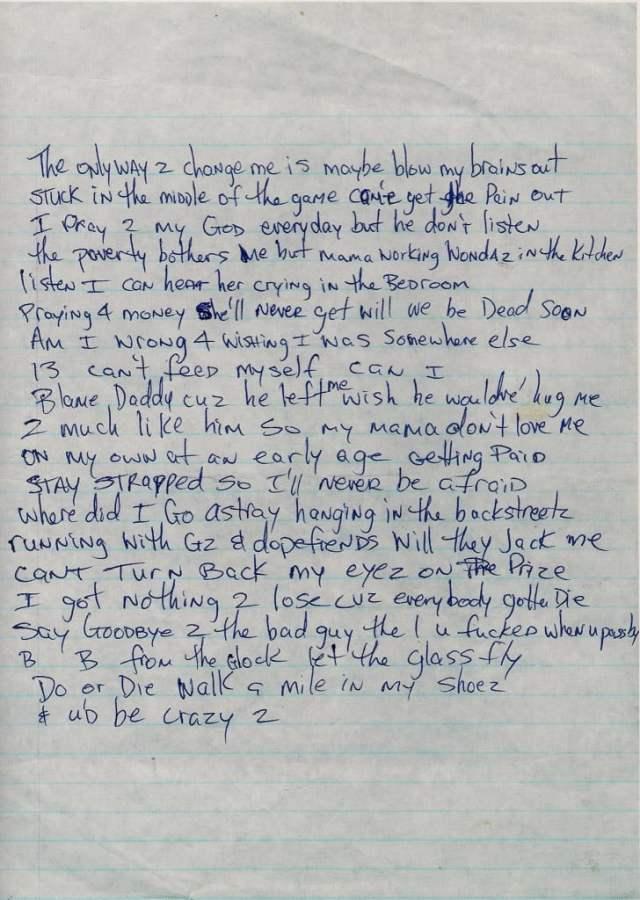 Nothin To Lose (Verse 1) - Tupac's Handwritten Lyrics