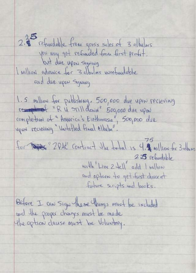Death Row Contact - Tupac's Handwritten Miscellaneous