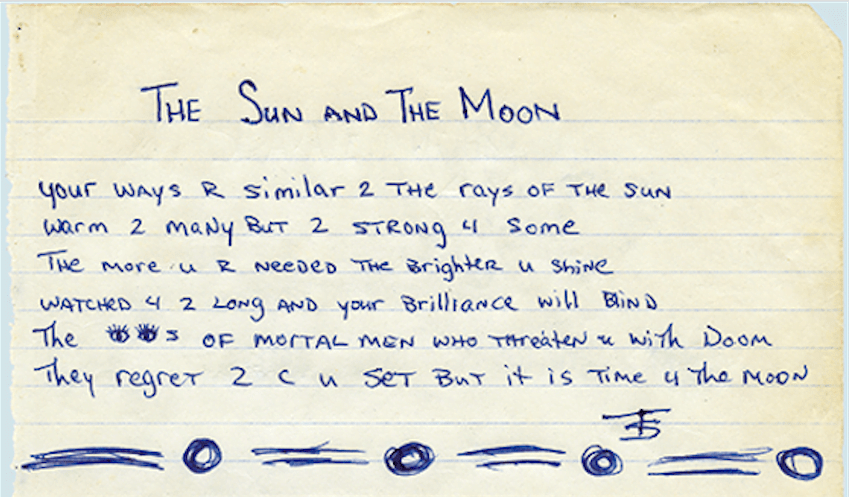 The Sun And The Moon Tupac S Handwritten Poem 2paclegacy Net The moon understands what it means. the sun and the moon tupac s