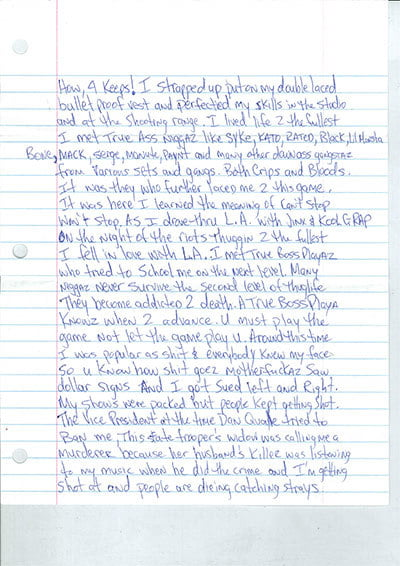 is thug life dead tupac letter 2