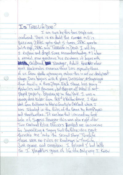 is thug life dead tupac letter