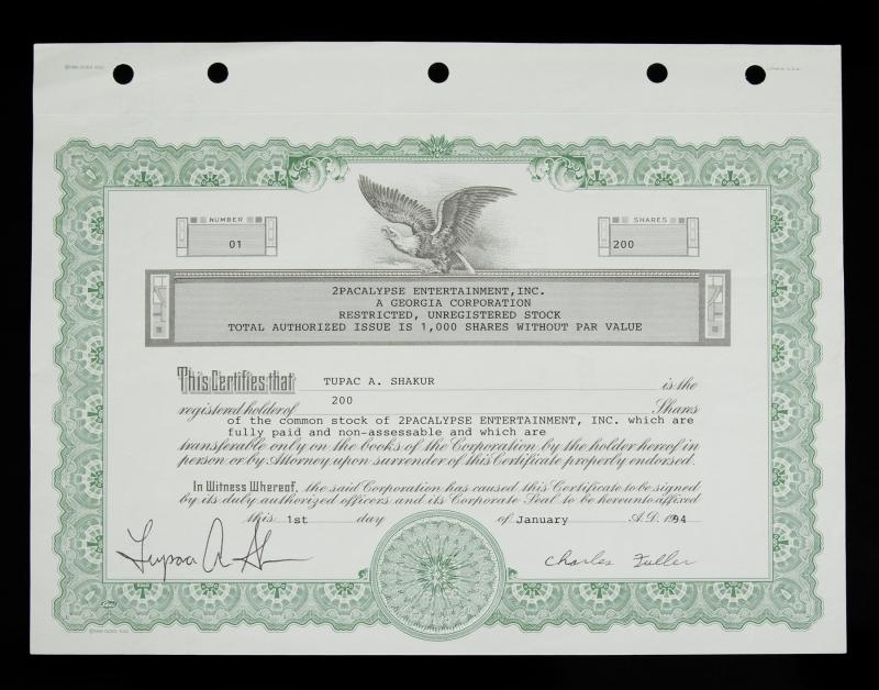 January 1, 1994,2pacalypse Entertainment Inc., signed by Tupac Shakur