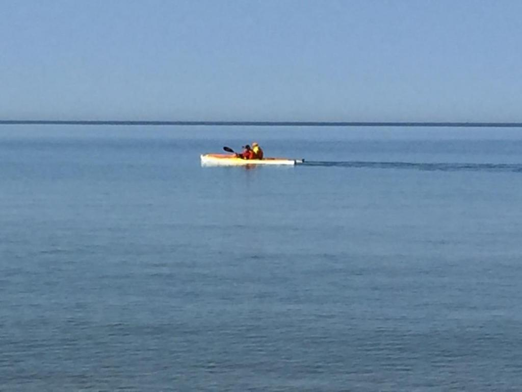 Kayaking off North Beach Park in Ferrysburg, Michigan.