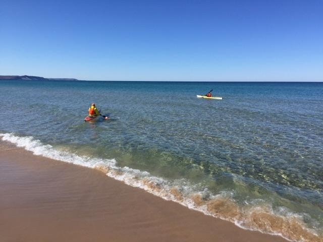 Kayaking on Lake Michigan just south of Frankfort, Michigan.
