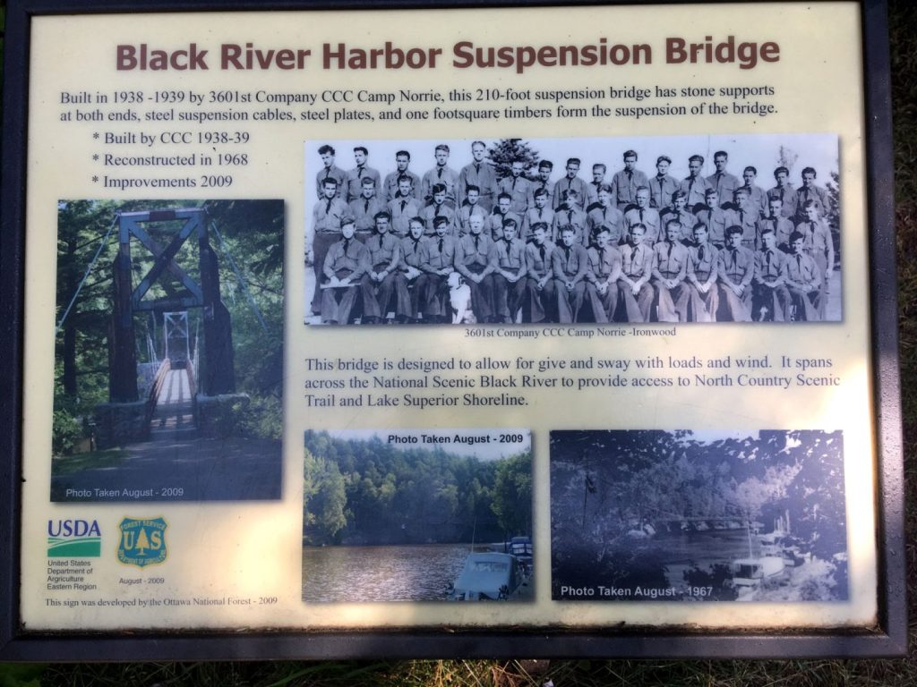 Black River Harbor Suspension Bridge sign.