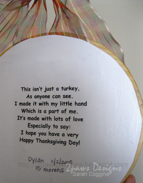 Handprint Turkey Plaque: poem