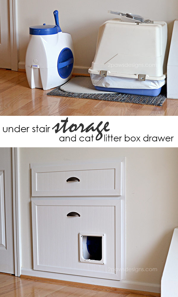 Reclaim Unused Space Beneath Your Stairs And Hide Away That Litter Box With  This Clever DIY