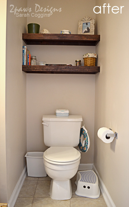 Half Bath: Built-in Shelving after