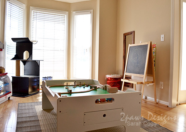Playroom: Train Table, Easel, and Dress Up