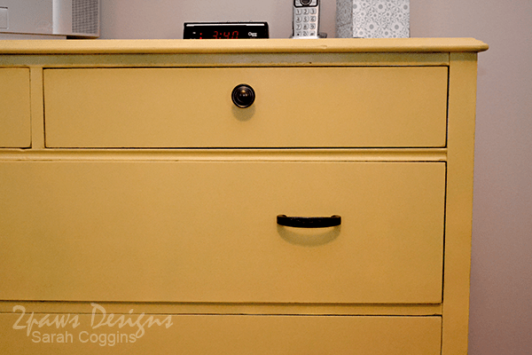Painted Yellow Dresser: Close Up