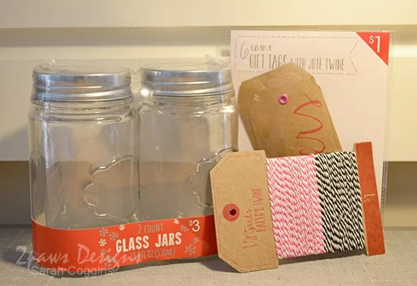 Supplies to create a simple jar full of date night ideas for your sweetheart. 2pawsdesigns.com