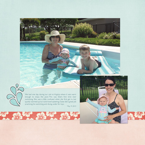 Digital Scrapbook Page: Pool May 2015